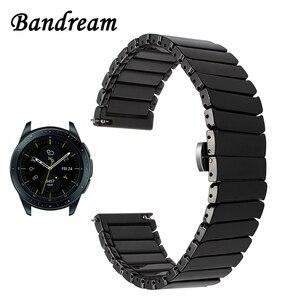 Image 1 - Ремешок керамический для Samsung Galaxy Watch 42 мм 46 мм, быстросъемный стальной браслет с застежкой бабочкой, 20 мм 22 мм