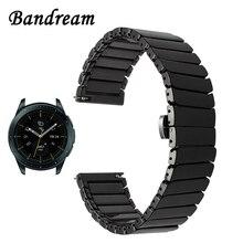 Volledige Keramische Horlogeband 20Mm 22Mm Voor Samsung Galaxy Horloge 42Mm 46Mm SM R810/R800 Quick Release band Staal Vlinder Gesp