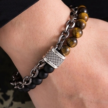 2pcs  Europe and America New Beaded Bracelet Stainless Steel Bracelets Mens fashion accessories C-21