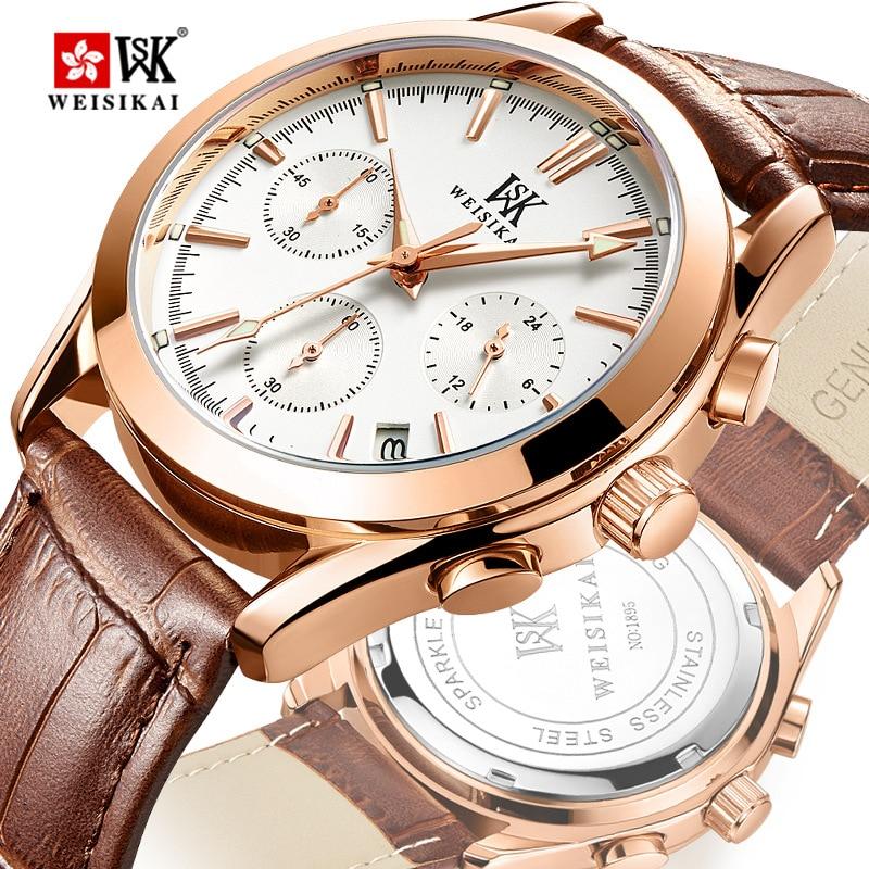 Luxe kalender waterdicht quartz horloge Herenhorloge Topmerk WEISIKAI - Herenhorloges - Foto 1