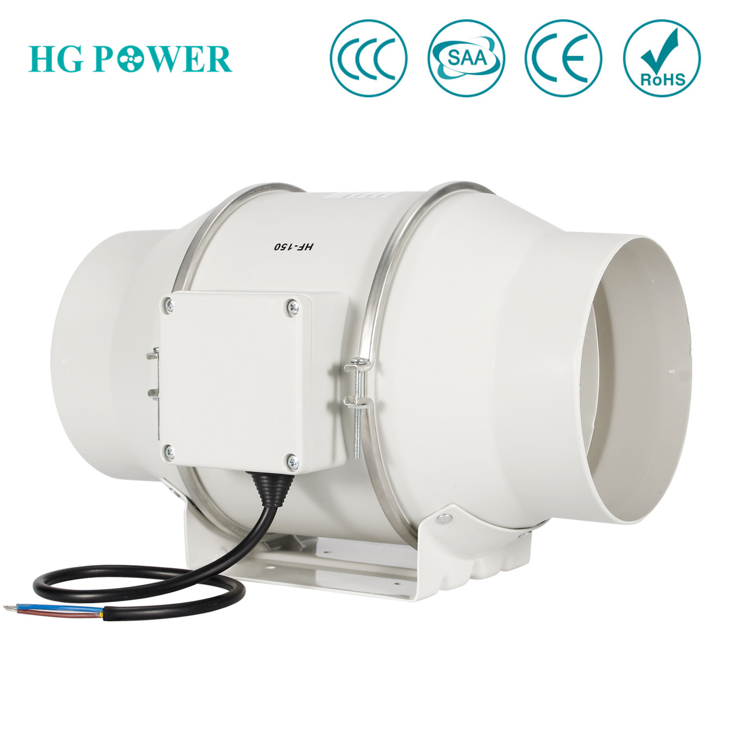 6'' 150mm High Efficiency Inline Duct Fan Exhaust Fan Mixed Flow Hydroponic Air Blower For Home Bathroom Greenhouse Ventilation