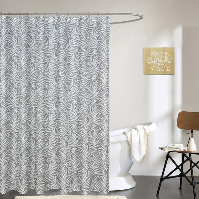 BBJ Grau Dusche Vorhänge für Badezimmer Gedruckt Weiß Farbe Blätter ...