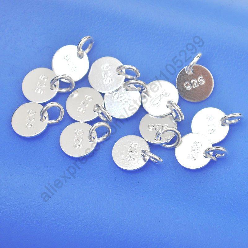 Ювелирные изделия диск оптовая продажа 100 шт подлинное Настоящее чистое серебро 925 пробы плоские компоненты + кольцо для ожерелья браслеты