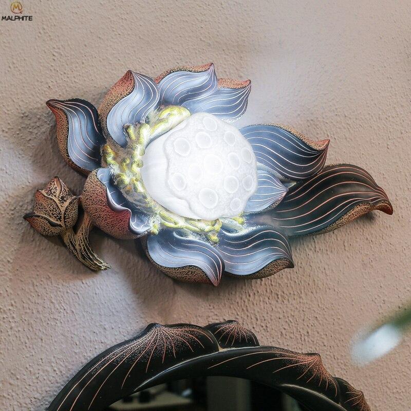 Китайское зеркало с узором в виде лотоса, настенный светильник для ванной комнаты, водонепроницаемый настенный светильник в виде корня лот