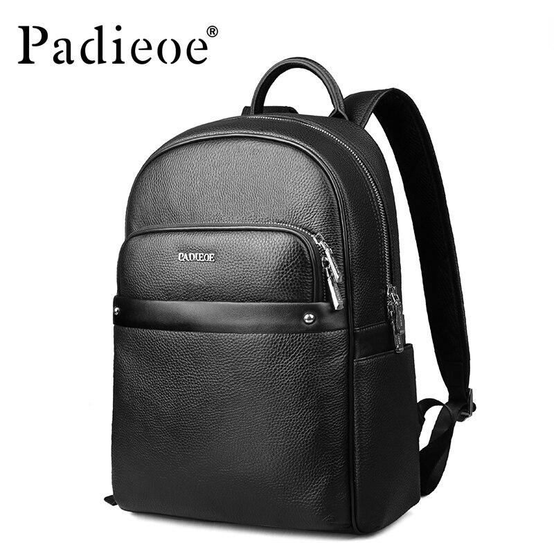 Padieoe Genuine Leather Mens Backpacks Luxury Brand Waterproof ...