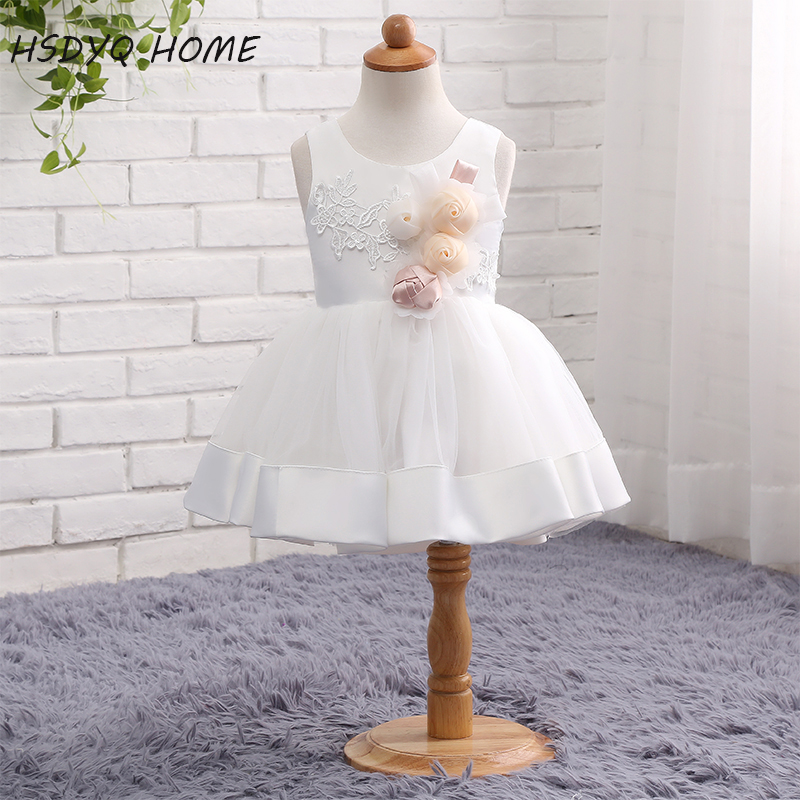 HSDYQ HOME White Flower Girls Dress Tank Wedding Pageant Kids Gown 2017 New Arrival Princess Party Dresses Girl Real Photo