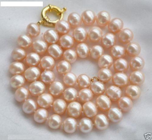 Selling jewerly >New 9-10mm Natural Pink Freshwater Pearl Necklace 18APink wig>free shipping