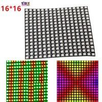 DC5V 16*16 пикселей WS2812B светодиодный полный Цвет Панель цифровой гибкие индивидуально адресуемых гибкий RGB светодиодные фонари Дисплей доска