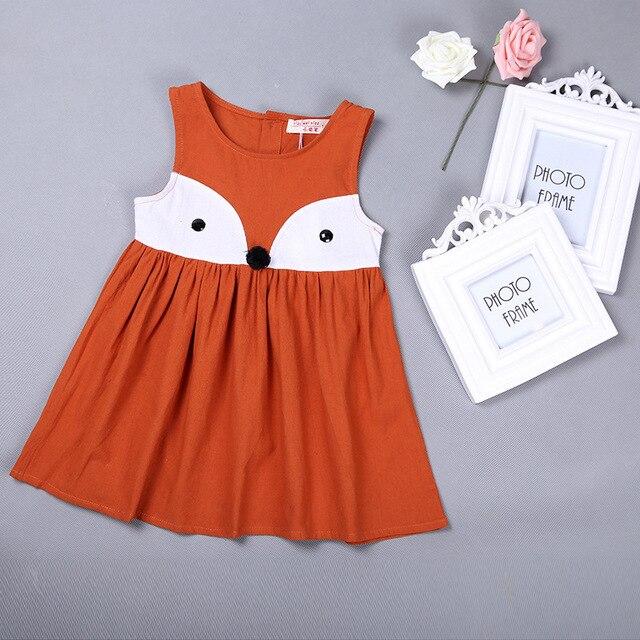 c948b9cb564dc Sweet Baby Girls Clothes Summer Girls Animal Printed Cotton Dress Girls Fox  Orange Gray Dress Clothing 80909