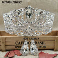 Argento di lusso Grande Cerimonia Nuziale di Spettacolo Tiara Headband + corrispondenza orecchino di Cristallo Nuziale pageant Crown Per Monili Dei Capelli della signora Diademi