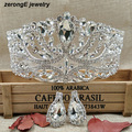 Luxury Silver Large Wedding Pageant Tiara Headband +matching earring Crystal Bridal pageant Crown For lady Hair Jewelry Tiaras