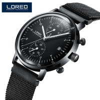 LOREO Mens Watches Top Brand Luxury Sapphire Quartz Fashion Men Watch Black Mesh Strap Casual Sport