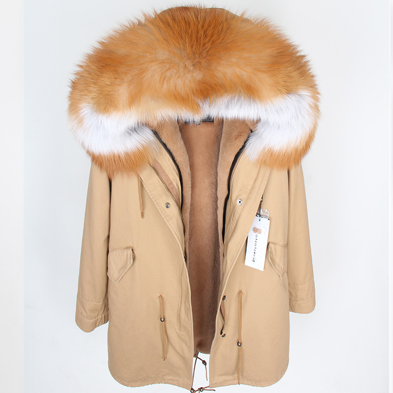 Maomaokong Women's Red Large Natural Color Fox Fur Hooded Coat Parkas Outwear Long Detachable Lining Winter Jacket