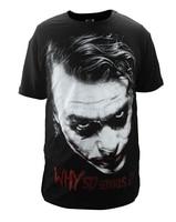 Free shipping Batman The Dark Knight Joker Print Cotton T Shirt O Neck Men Tee T Shirt Cosplay Costume for Summer 01