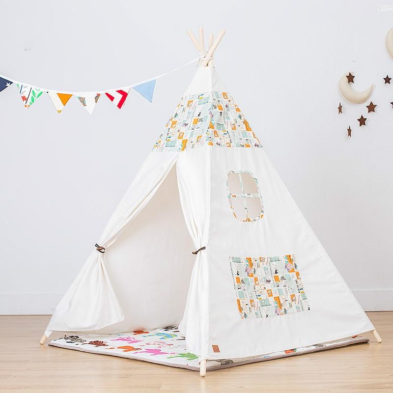 Soft Foldable Cartoon Print 4 Poles Kids Teepee Tents