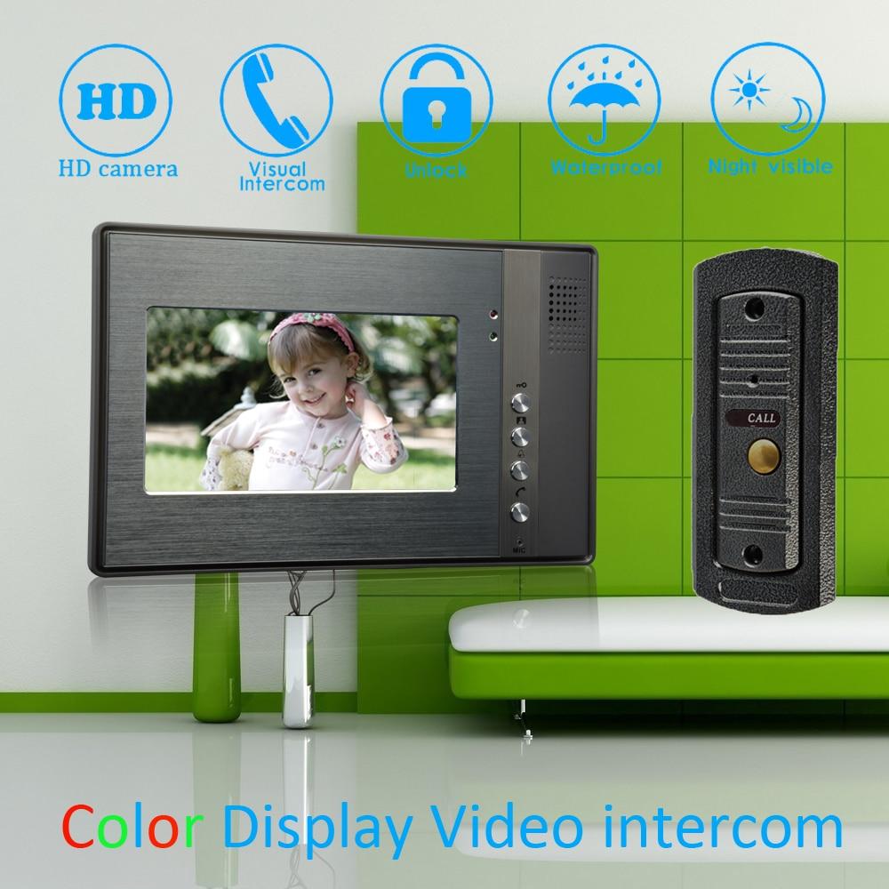 (1 Set) 7'' Color Monitor Home Garden Improvement Video Door Phone Home Security Digital Doorbell Door Access Control Intercom