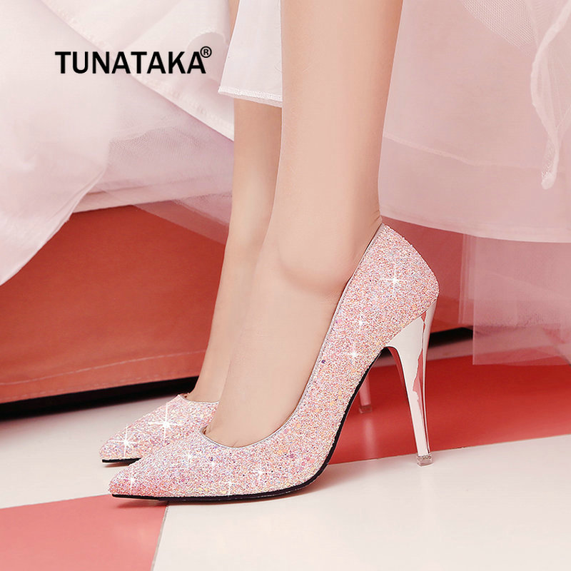 Women Fashion Sequined Cloth High Heel Sexy Thin Heel Party Wedding Pumps Shoes White Black Pink