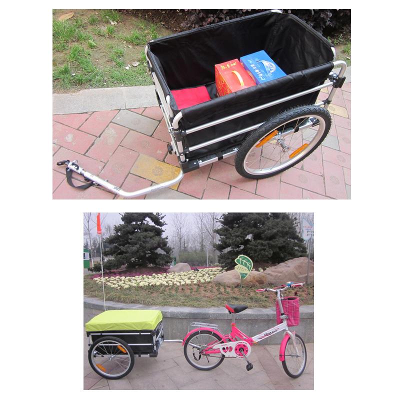 20 Inch Bike Cargo Trailer With Rain Cover Aluminium Alloy Frame Bicycle Children Trailer Mountain Bike Kids Trailer