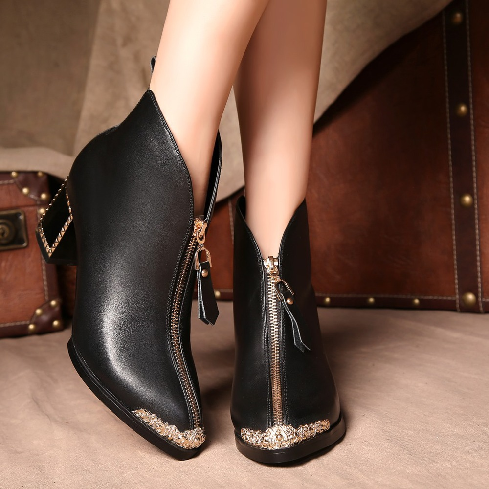 Autumn Winter Women Thick High Heel Genuine Leather Zipper Pointed Toe Crystal Fashion Ankle Martin Boots Size 34-39 SXQ0826 women autumn winter genuine leather thick mid heel side zipper round toe 2015 new fashion ankle boots size 34 39 sxq0905