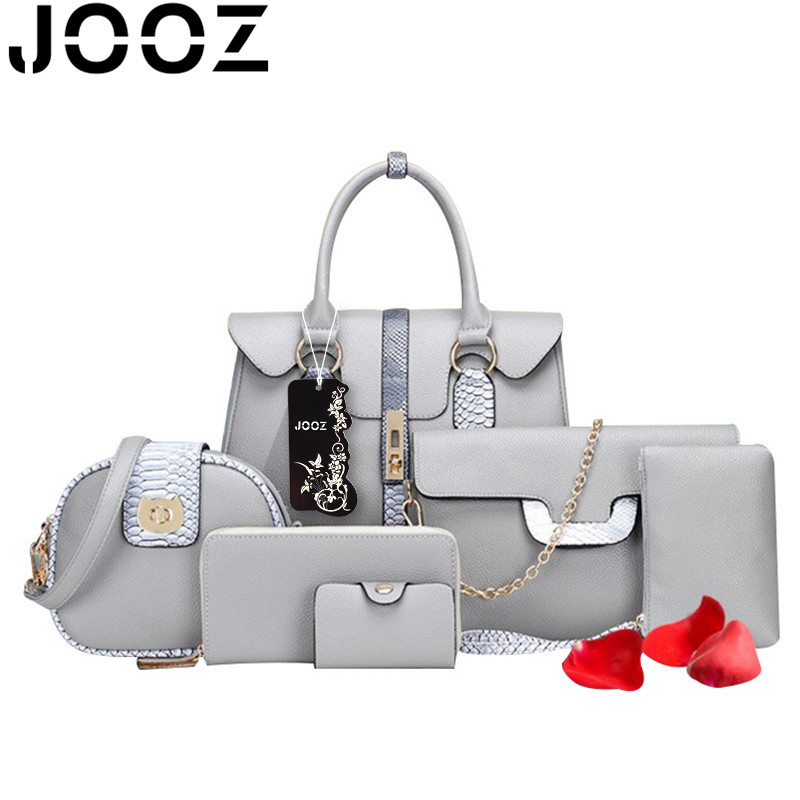 JOOZ Brand Luxury Serpentine PU Leather 6 Pcs Bag Set Women Handbag Female Shoulder Crossbody Messenger Lady Clutch Wallet Purse корзина bask h441zw 2