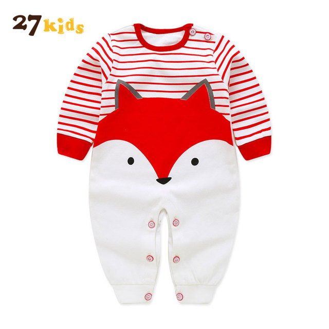 1d50cbcc52f8 27Kids baby Romper clothes Newborn Baby girl Boy Clothing Cotton Cloth  jumpsuit full Sleeve o-neck fox print Rompers Clothes