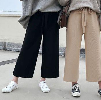 Brand Pants 2017 New Winter Warm Jersey Knit Wide Leg Pants Women High Waist Trousers pantalon femme harajuku Casual Pants roupas da moda masculina 2019