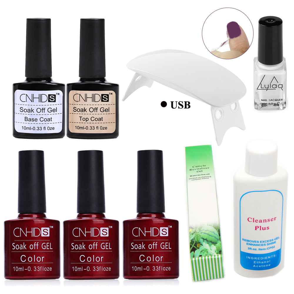 Manicure Nail Set UV Gel Nail Polish 6W USB Cable UV Lamp With Base & Top Coat And Nail Cleanser Cuticle Oil 20pcs gel nail primer top coat and base coat magnetic gel cat s eyes gel nail gelfor uv gel polish best on 15ml nail sticker