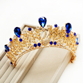 2017 Giant Miss Universe Regal golden Gold Plated Peacock Blue Tiaras And Crowns Iris Bride Bridesmaid For Wedding Bride To Be