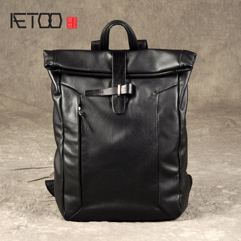 AETOO The first layer of small leather backpack male leather backpack tide brand fashion leisure leather travel bag male classic microfiber leather backpack
