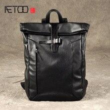 Aetoo第一層の革バックパック男性革リュックヴィンテージブランドファッションレジャー革旅行バッグ大