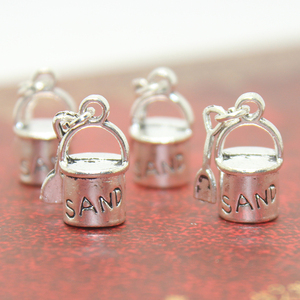 20pcs/lot 18x8mm Antique Silver Tone Beach Sand Pail Charms Bucket and Shovel Charms pendant