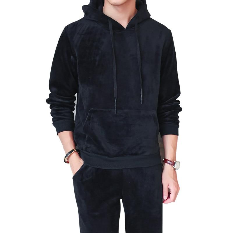Velvet Tracksuit Suit Men's Sportswear Casual Hooded Sweatshirt+Pants Two Piece Sets Sporting Suit  Long Sleeve Hoodies