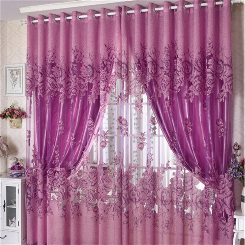 250*100cm Peony Pattern Voile Curtains for Living Room Window ...
