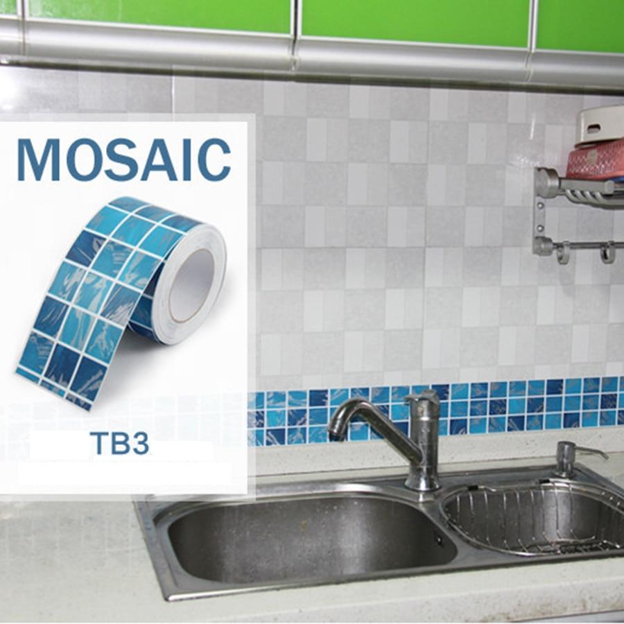 5m waist line wall sticker kitchen bathroom toilet wall for Self adhesive bathroom wallpaper