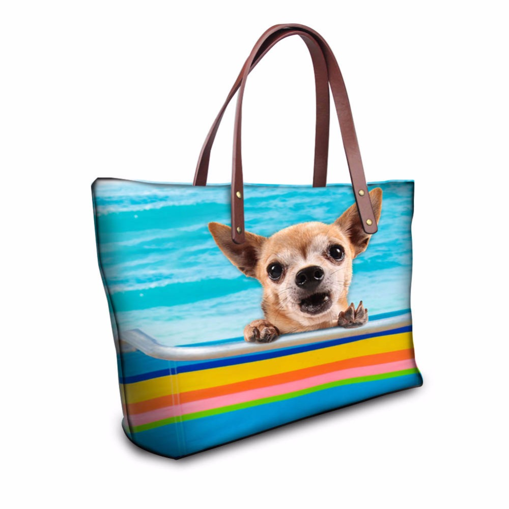 ФОТО Fashion Women Causal Bags Animal Dog Cat Denim Print Ladies Handbag Large Shoulder Bags Elegant Ladies Tote Satchel Mujer Bolsa