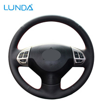LUNDA Black Leather Car Steering Wheel Cover for Mitsubishi Lancer EX 10 Lancer X Outlander ASX Colt Pajero Sport