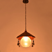 American country Pendant Lights retro solid wood single head diffuse cafe clothing shop restaurant antique bar light LU71483 YM