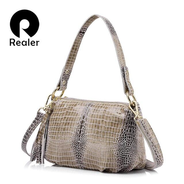 REALER Бренд женская сумка из натуральной кожи, дамская сумка с  кисточкой и крокодиловым принтом