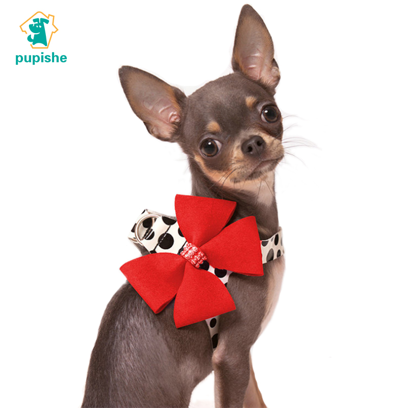 PUPISHE Dog Harness Vest Cute Pet Dog Harness and Leash Set Adjustable Big Bow Rhinestones Puppy Harness for Chihuahua Yorkie S
