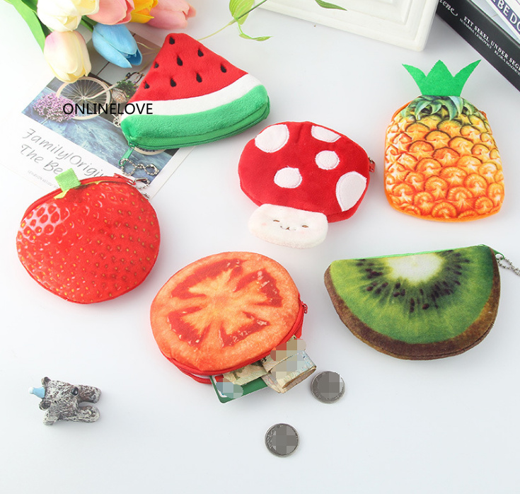 Hearty Novelty Up 20designs Fruits Bag Little Vegetables Fruit Coin Bag Purse ; Girls Small Pocket Coin Pouch 10-11cm Approx