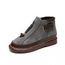 Купить с кэшбэком Women Ankle Shoes women new British style Chelsea boots winter oversized platform block flats Buckle Strap Low1cm-3cm Yasilaiya