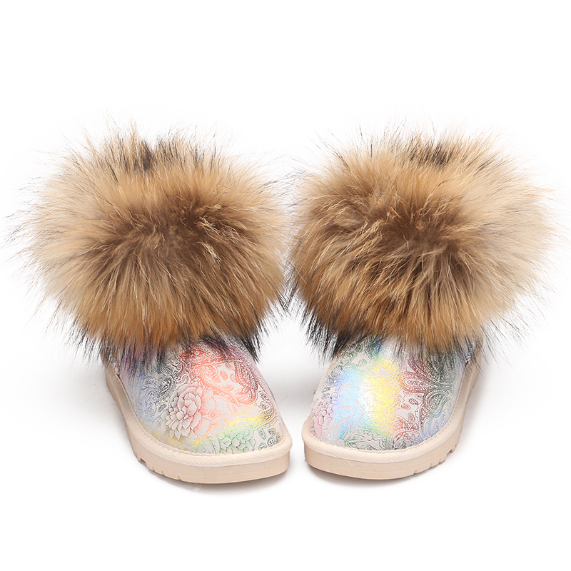 Girls Winter Boots Fur Children Warm Snow Boots Teenagers Student Fashion Bling Waterproof Female Rubber Shoes 2Style Size 24-40
