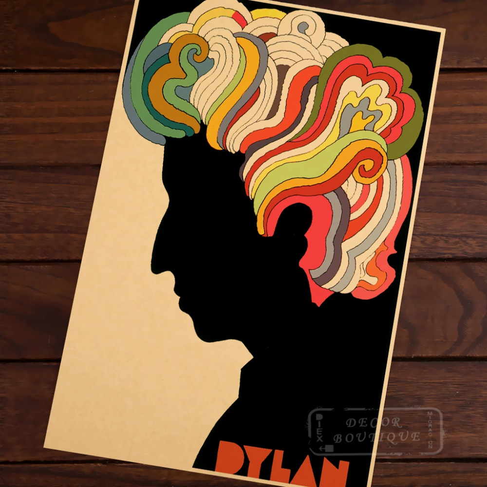 Vintage Gläser Us 3 98 Bob Dylan Rock Master Milton Glaser Painting Vintage Classic Retro Canvas Painting Frame Poster Diy Posters Home Decor Gift In Painting