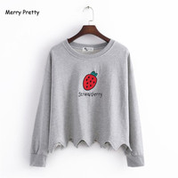 2016 Autumn Strawberry Embroidery Asymmetrical Pullovers Women Tops T Shirt O Neck Full Sleeve Cotton Slim
