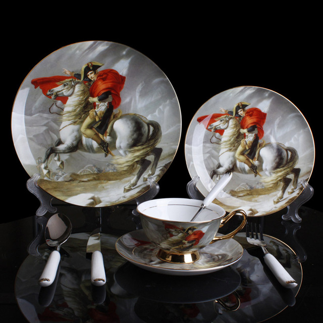 Bone China Dinnerware Sets Royal Napoleon Riding Horse Pattern Dinner Plate Sets Oil Painting Dishes Set European Dishware