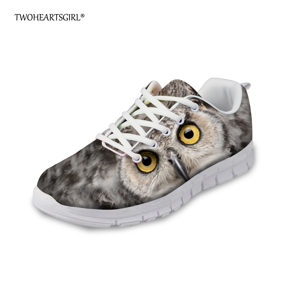 Twoheartsgirl Fashion Women Flats Breathable Comfortable Female Ladies Sneakers Grey Printed Animal Owl Mesh Shoes Casual Flats fashion women casual shoes breathable air mesh flats shoe comfortable casual basic shoes for women 2017 new arrival 1yd103