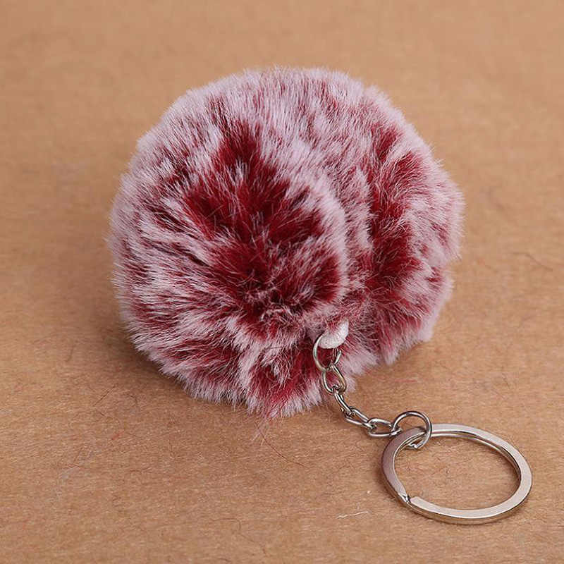 Chaveiroปุยกระต่ายปลอมลูกขนPom Pomพวงกุญแจน่ารักเสน่ห์p ompomของขวัญพวงกุญแจสำหรับผู้หญิงกระเป๋ารถอุปกรณ์พวงกุญแจ