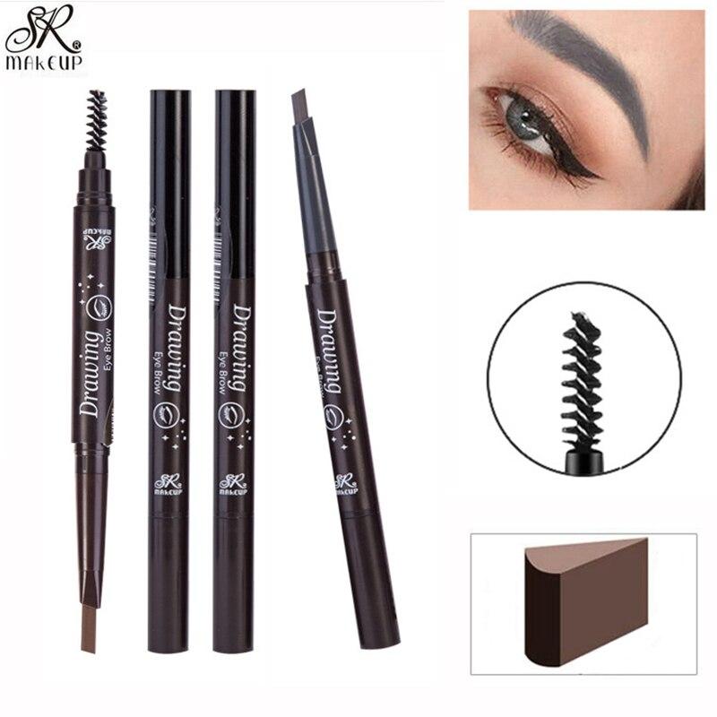 SR MAKE UP Professional Eye Brow Tattoo Pen Long Lasting Waterproof Double-ended Coffee Dark Brown Color Eyebrow Pencil Makeup