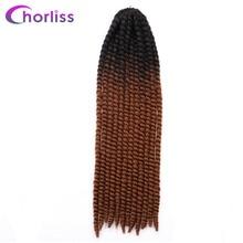 """Chorliss 22 """"Мамбо твист 2X плетение волос крючком Твист коса синтетические Черный Блондинки синий фиолетовый волос 24Colors120g 6 шт."""