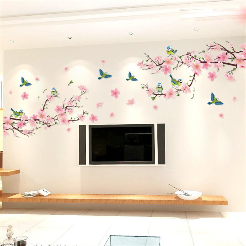 Sakura pegatinas de pared calcomanía dormitorio sala de estar DIY Flor extraíble PVC Art wallpaper hermosas decoraciones para el hogar pegatinas calcomanías